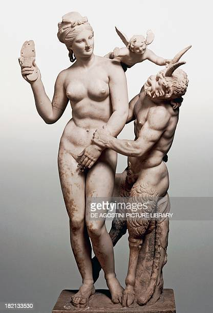 Aphrodite Pan and Eros ca 100 BC marble statue discovered at Delo Greece Athens Ethnikó Arheologikó Moussío