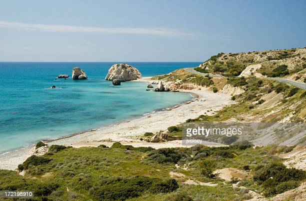 aphrodite's rock - republic of cyprus stock pictures, royalty-free photos & images
