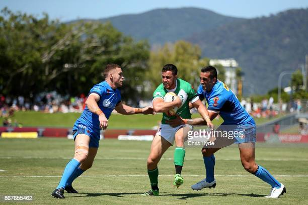 Api Pewhairangi of Ireland is tackled during the 2017 Rugby League World Cup match between Ireland and Italy at Barlow Park on October 29 2017 in...