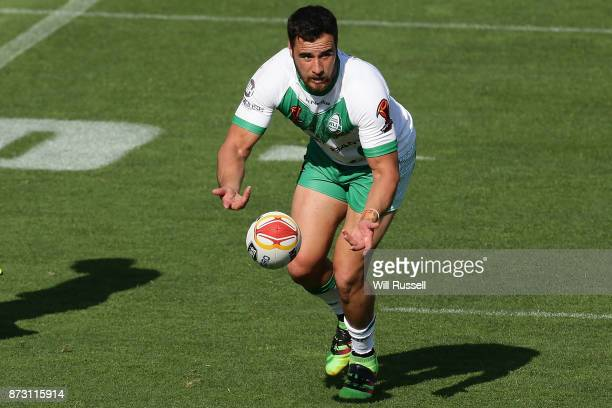 Api Pewhairangi of Ireland passes the ball during the 2017 Rugby League World Cup match between Wales and Ireland at nib Stadium on November 12 2017...