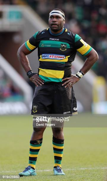Api Ratuniyarawa of Northampton looks on during the Aviva Premiership match between Northampton Saints and London Irish at Franklin's Gardens on...