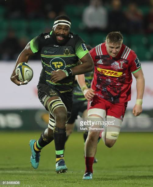 Api Ratuniyarawa of Northampton Saints breaks with the ball during the AngloWelsh Cup match between Northampton Saints and Harlequins at Franklin's...