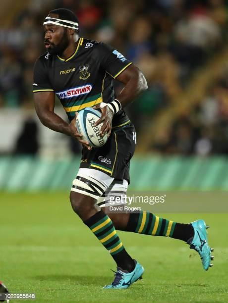 Api Ratuniyarawa of Northampton Saints runs with the ball during the pre season friendly match between Northampton Saints and Glasgow Warriors at...