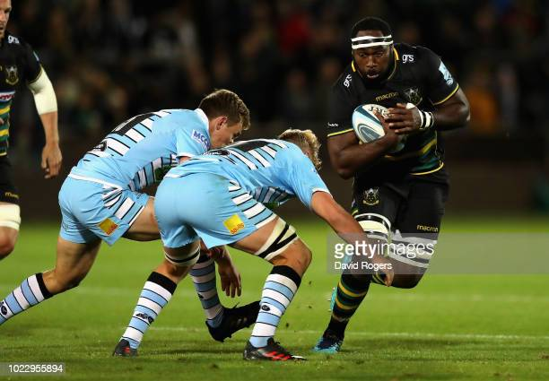 Api Ratuniyarawa of Northampton Saints runs with the ball during the pre season friendly match between Northampton Saints and Glasgow Warriors at...