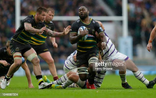 Api Ratuniyarawa of Northampton Saints tackled by by Tom Youngs and Ben Youngs of Leicester Tigers during the Gallagher Premiership Rugby match...