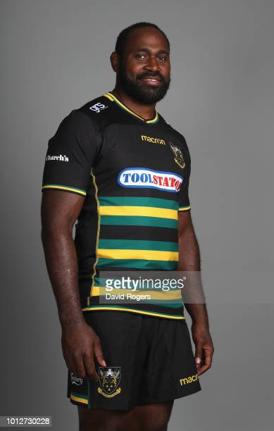 Api Ratuniyarawa poses during the Northampton Saints squad photo call for the 201819 Gallagher Premiership Rugby season on August 6 2018 in...
