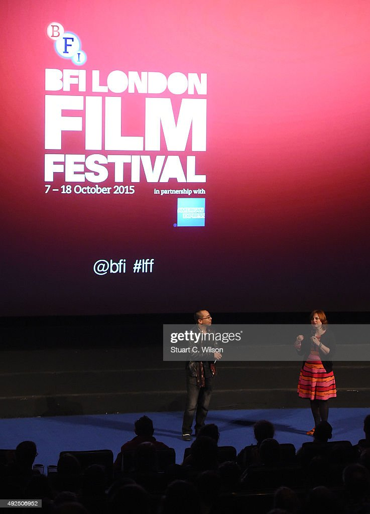 Apichatpong Weerasethakul and Clare Stewart attend the 'Cemetery Of Splendour' screening during the BFI London Film Festival at Vue Leicester Square on October 13, 2015 in London, England.