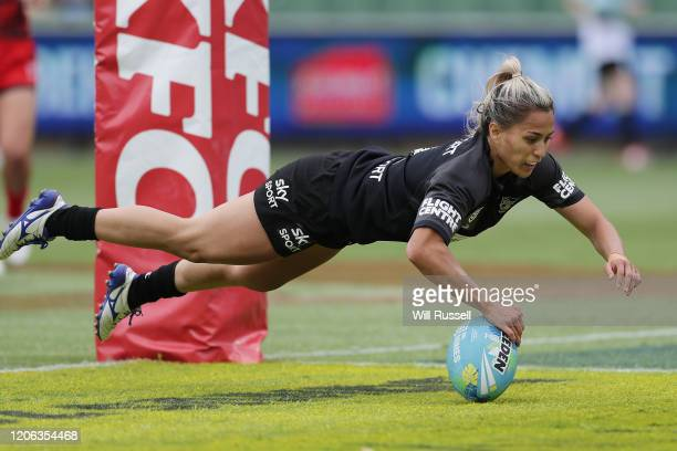 Apii Nicholls of the Warriors scores a try during Day 2 of the 2020 NRL Nines at HBF Stadium on February 15, 2020 in Perth, Australia.