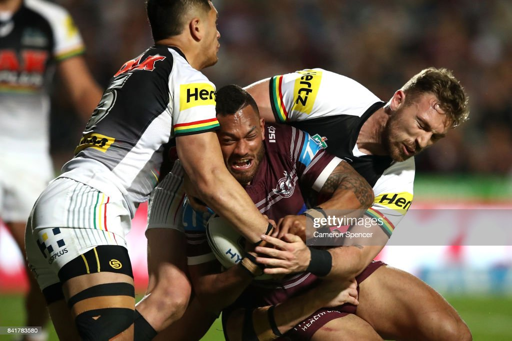 Apisai Koroisau of the Sea Eagles is tackled during the round 26 NRL match between the Manly Sea Eagles and the Penrith Panthers at Lottoland on September 2, 2017 in Sydney, Australia.