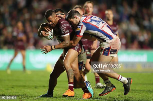 Apisai Koroisau of the Sea Eagles is tackled during the Round eight NRL match between the ManlyWarringah Sea Eagles and the Newcastle Knights at...
