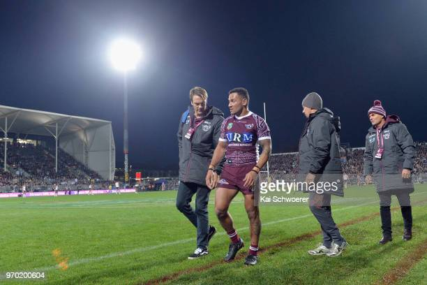 Apisai Koroisau of the Sea Eagles receives medical help during the round 14 NRL match between the Manly Sea Eagles and the New Zealand Warriors at...