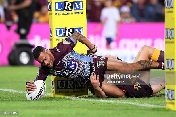 Apisai Koroisau of the Sea Eagles scores a try during the round ten NRL match between the Manly Sea Eagles and the Brisbane Broncos at Suncorp...