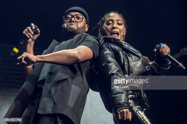 apldeap and Jessica Reynoso of the Black Eyed Peas perform on stage at the Eventim Hammersmith Apollo on October 27 2018 in London England