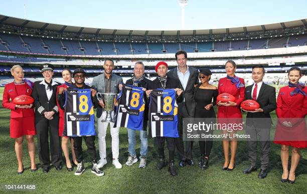 apldeap Jessica Reynoso and Taboo of The Black Eyed Peas along with 2018 AFL Premiership Cup ambassador Josh Gibson and Gillon McLachlan Chief...