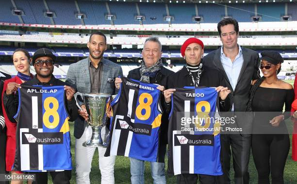apldeap Jessica Reynoso and Taboo of The Black Eyed Peas along with 2018 AFL Premiership Cup ambassador Josh Gibson Gillon McLachlan Chief Executive...