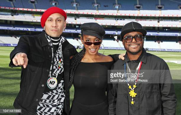 apldeap Jessica Reynoso and Taboo of The Black Eyed Peas pose during the AFL PreMatch Entertainment Press Conference at Melbourne Cricket Ground on...