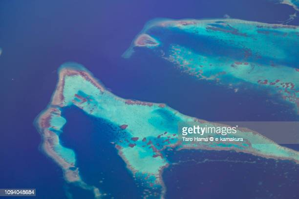 Apo Reef Natural Park in in Sablayan in Province of Occidental Mindoro in Philippines daytime aerial view from airplane daytime aerial view from airplane