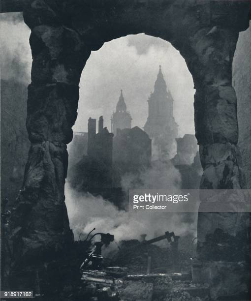 'Apocalypse' 1941 The twin clock towers of St Pauls Cathedral is seen through the bomb damage From Air of Glory by Cecil Beaton [His Majesty's...