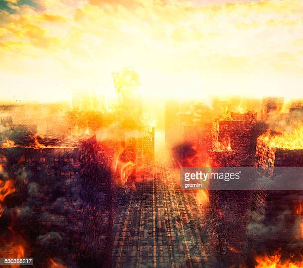 Apocalipsis, burning city, fire, explosion
