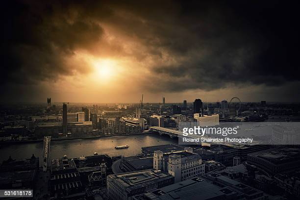 apocalypse under londons sky - apocalypse stock pictures, royalty-free photos & images
