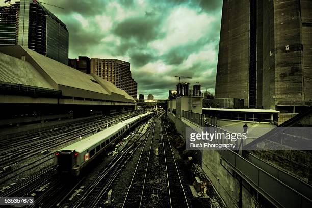 Apocalyptic railway landscape