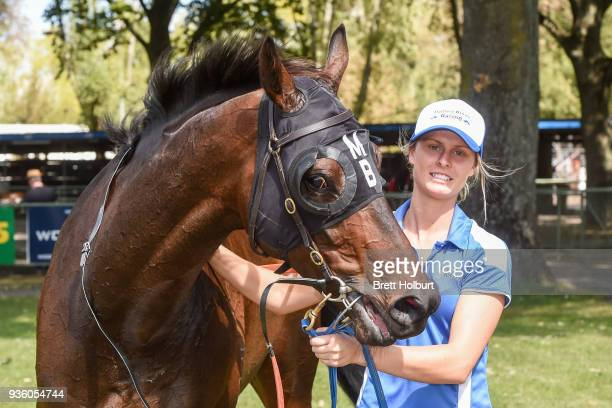 Apocalypto after winning the Woodside Park Stud BM58 Handicap at Kyneton Racecourse on March 21 2018 in Kyneton Australia
