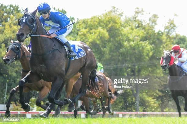 Apocalypto ridden by Chelsea MacFarlane wins the Woodside Park Stud BM58 Handicap at Kyneton Racecourse on March 21 2018 in Kyneton Australia