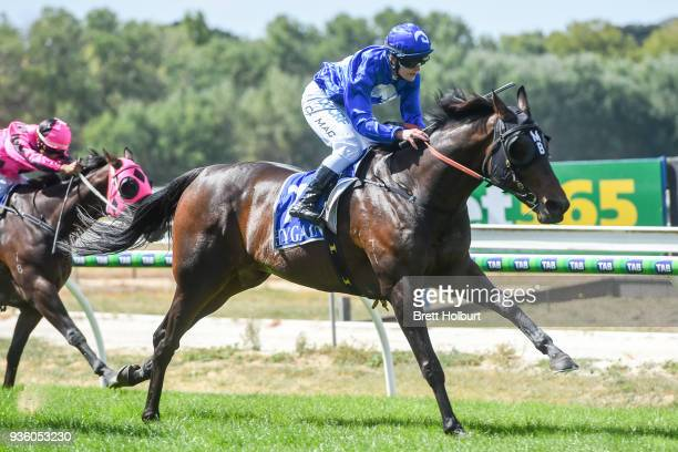 Apocalypto ridden by Chelsea MacFarlane wins the Woodside Park Stud BM58 Handicap at Kyneton Racecourse on March 21 2018 in Kyneton Australia
