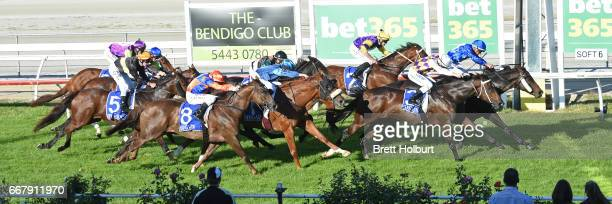 Apocalypto ridden by Chris Caserta wins the Mother's Day Luncheon @ Trackside BM58 Handicap at Kilmore Racecourse on April 13 2017 in Kilmore...