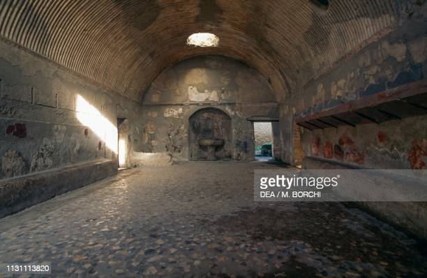 Apodyterium in the men's section of the Forum Baths Herculaneum Campania Italy Roman civilization 1st century