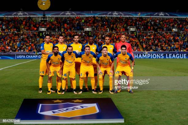 Apoel FC's starting eleven pose for a group picture ahead of the UEFA Champions League football match between Apoel FC and Tottenham Hotspur at the...