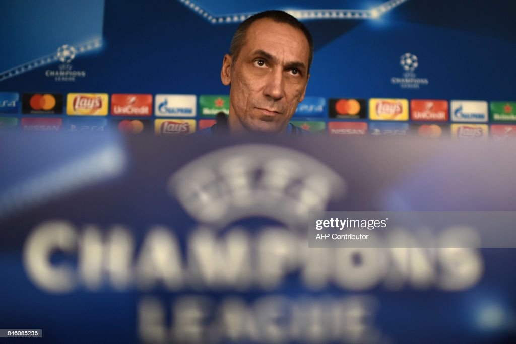 Apoel's coach from Greece Giorgos Donis looks on during a press conference at the Santiago Bernabeu stadium in Madrid on September 12, 2017 on the eve of the UEFA Champions League football match Real Madrid CF vs Apoel FC. /