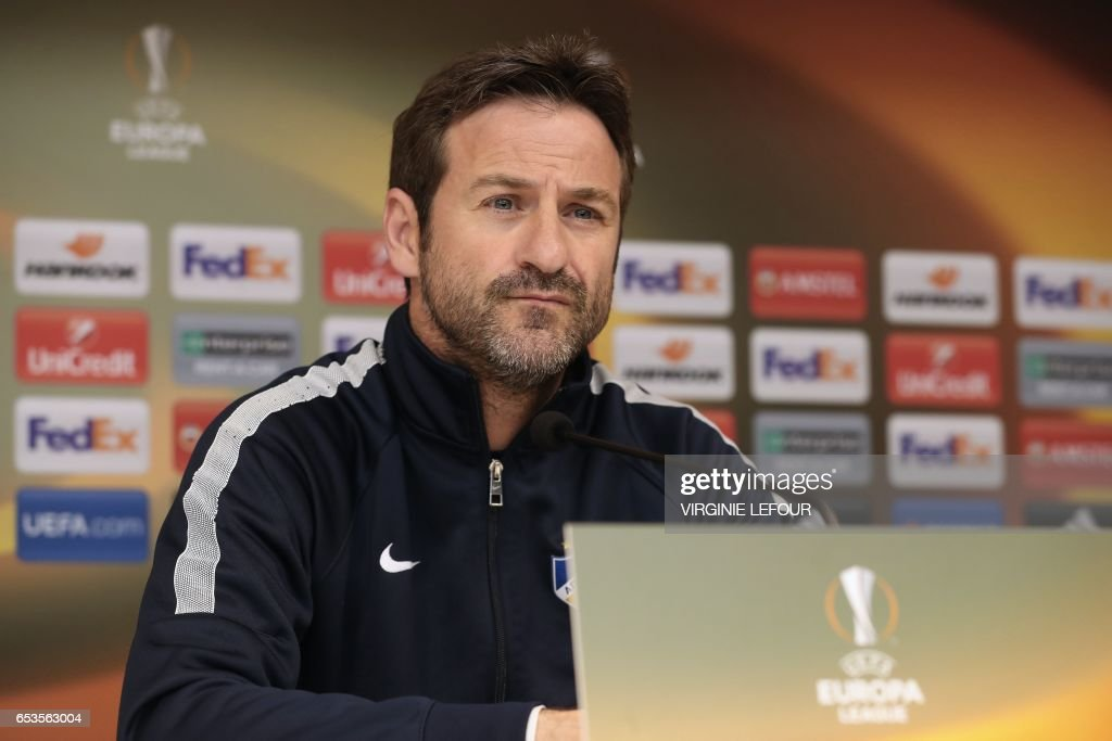 Apoel's head coach Thomas Christiansen looks on during a press conference in Anderlecht on March 15, 2017, on the eve of the UEFA Europa League football match Apoel Nicosie vs RSC Anderlecht. / AFP PHOTO / Belga / VIRGINIE LEFOUR / Belgium OUT