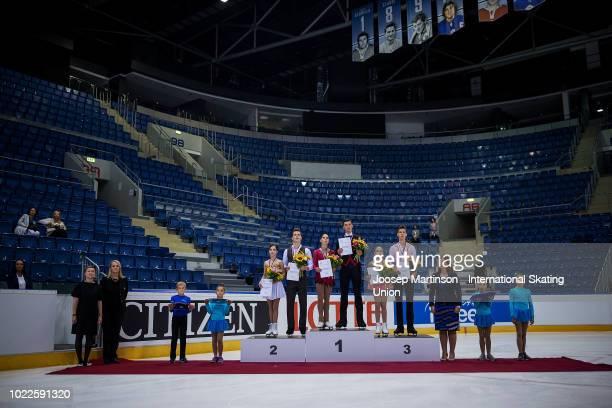 Apollinariia Panfilova and Dmitry Rylov of Russia, Anastasia Mishina and Aleksandr Galliamov of Russia and Kseniia Akhanteva and Valerii Kolesov of...