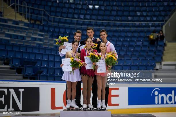Apollinariia Panfilova and Dmitry Rylov of Russia Anastasia Mishina and Aleksandr Galliamov of Russia and Kseniia Akhanteva and Valerii Kolesov of...