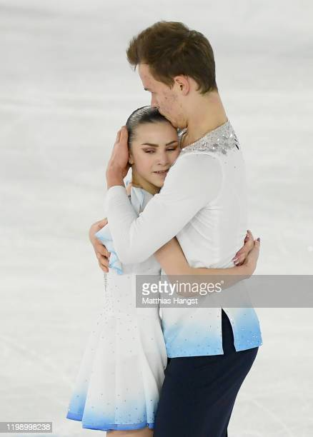 Apollinariia Panfilova and Dmitry Rylov of Russia celebrate in Pair Skating Free Skating during day 3 of the Lausanne 2020 Winter Youth Olympics on...