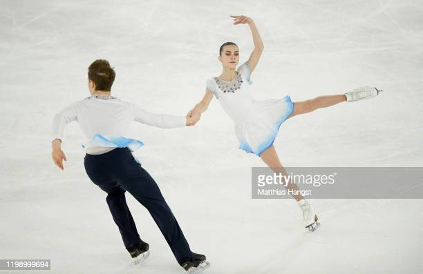 Apollinariia Panfilova and Dmitry Rylov of Russia compete in Pair Skating Free Skating during day 3 of the Lausanne 2020 Winter Youth Olympics on...