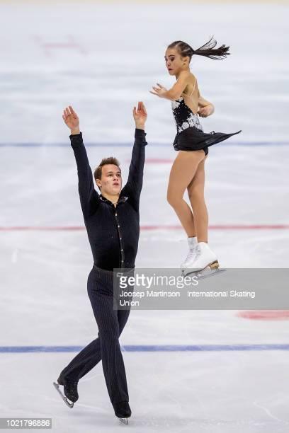 Apollinariia Panfilova and Dmitry Rylov of Russia compete in the Junior Pairs short program during the ISU Junior Grand Prix of Figure Skating at...