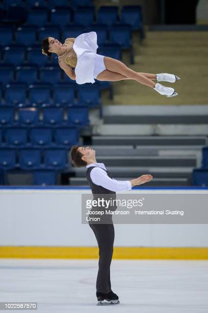 Apollinariia Panfilova and Dmitry Rylov of Russia compete in the Junior Pairs Free Skating during the ISU Junior Grand Prix of Figure Skating at...