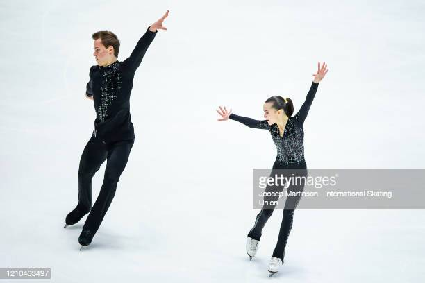 Apollinariia Panfilova and Dmitry Rylov of Russia compete in the Junior Pairs Short Program during day 1 of the ISU World Junior Figure Skating...