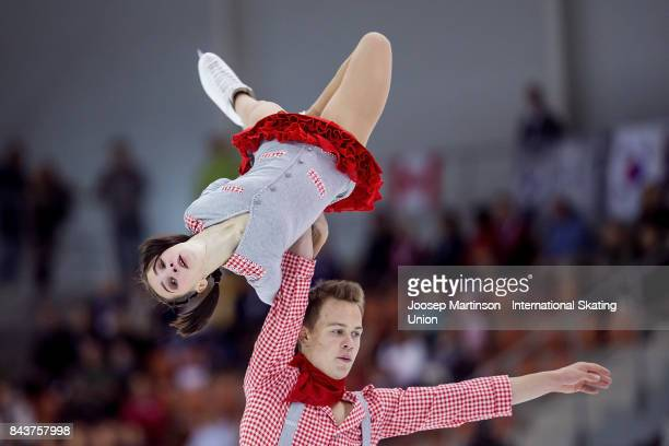 Apollinariia Panfilova and Dmitry Rylov of Russia compete in the Junior Pairs Short Program during day 1 of the Riga Cup ISU Junior Grand Prix of...