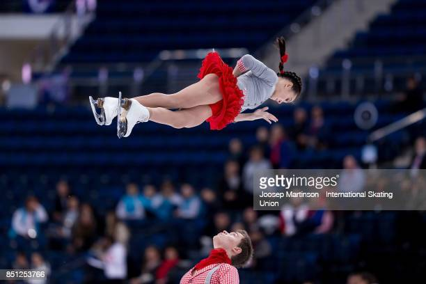 Apollinariia Panfilova and Dmitry Rylov of Russia compete in the Junior Pairs Short Program during day two of the ISU Junior Grand Prix of Figure...