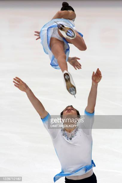 Apollinariia Panfilova and Dmitry Rylov of Russia perform their pairs program during the Free Skating competition at the Rostelecom Cup 2020 ISU...
