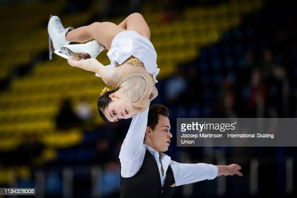 Apollinariia Panfilova and Dmitry Rylov of Russiacompete in the Junior Pairs Free Skating during day 2 of the ISU World Junior Figure Skating...