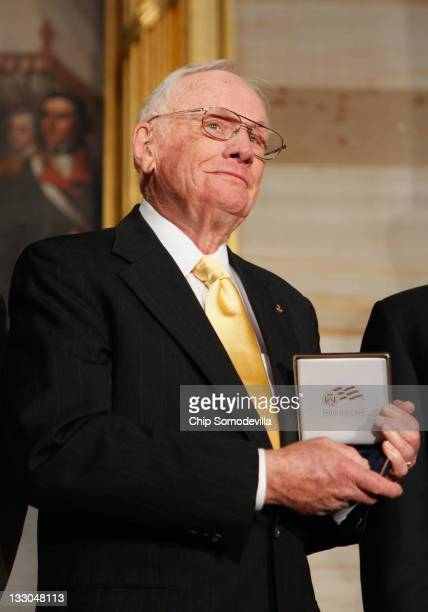 Apollo 11 Astronaut and the first man to walk on the moon, Neil Armstrong is presented with the Congressional Gold Medal during a ceremony in the...