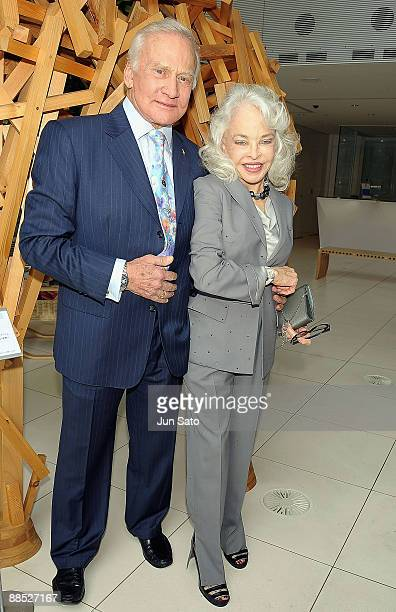 Apollo 11 astronaut Buzz Aldrin and his wife Lois Aldrin attend 'Omega Celebrates 40th Anniversary Of Moon Landing' press conference at Nicolas G...