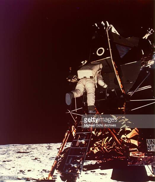 Apollo 11 astronaut Buzz Aldrin is photographed by Neil Armstrong as he descends the ladder from the lunar Module on July 21 1969 on the Moon