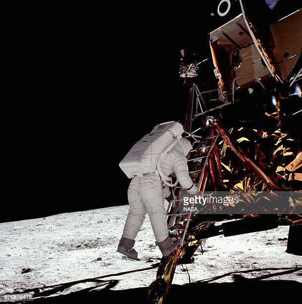 Apollo 11 astronaut Buzz Aldrin takes his last step off the Eagle lunar module onto the surface of the Moon