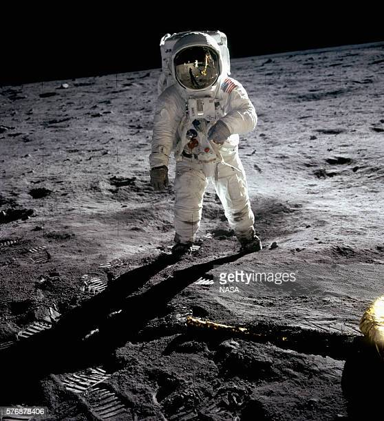 Apollo 11 astronaut Buzz Aldrin walks on the surface of the Moon at Tranquility Base