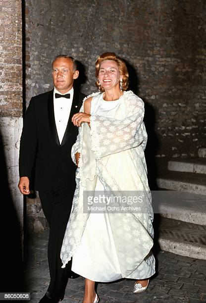 Apollo 11 astronaut Edwin Buzz Aldrin and his wife Joan arrive at a reception at the Castel Sant'Angelo on October 16 1969 in Rome Italy